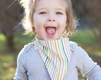 Baby Bandana Bib in Multi Color Stripe, Organic Gender Neutral Scarf Bib for Babies and Toddlers, Modern Baby Shower Gifts, Gifts Under 30