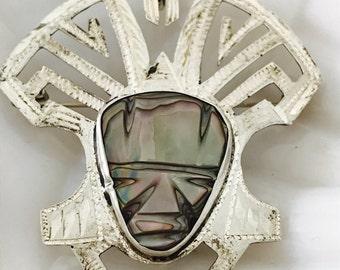 Vintage Mexican Silver Aztec Headdress Brooch Pendant