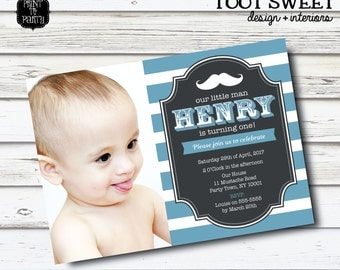 Printable Little Man Birthday Invitation - Moustache, Mustache