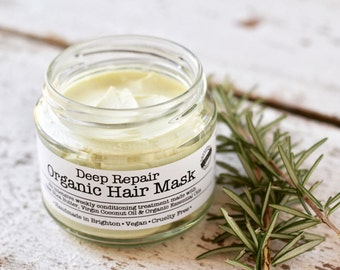 Organic Hair Mask with Shea Butter, Coconut Oil, Rosemary, Lavender & Tea Tree Essential Oils. Vegan Friendly. 200ml.