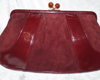70s Suede Clutch Marsala Evening Bag