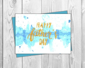 Father's Day Printable Card- Blue Watercolor