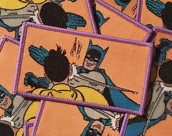 BAT SLAP : Retro Batman & Robin Meme Iron On Patch