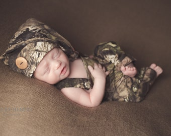 Hunting camo outfit overall and long tail hat for newborn baby boy or girl - preemie sizes available