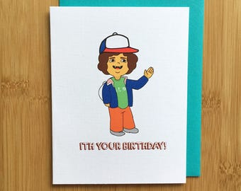 Stranger Things Birthday Card - A2 Handmade Card, TV show Card, Toothless card with foiled lettering