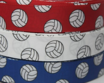 Red White Blue Volleyball 7/8 inch Grosgrain Ribbon by the Yard for Hairbows, Scrapbooking, and More!!