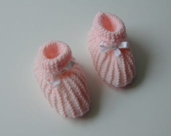 Baby booties pink striped