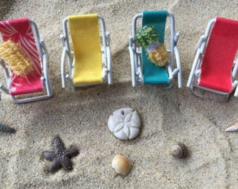 Miniature Dollhouse Lounge Chairs - Two Chairs Included - Miniature Beach - Beach Miniatures - Wedding Cake - Fairy Garden - Beach Terrarium