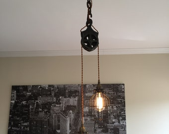 Steampunk Well Pulley Pendant Light with Antique Brass Sockets
