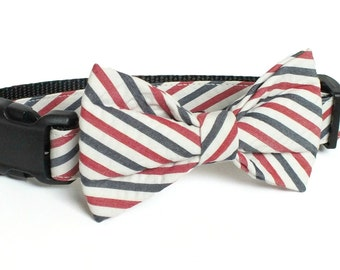 Vintage Look Americana Seersucker Wide Stripe Dog Collar Bow Tie set, patriotic, pet bow tie, collar bow tie, wedding bow tie