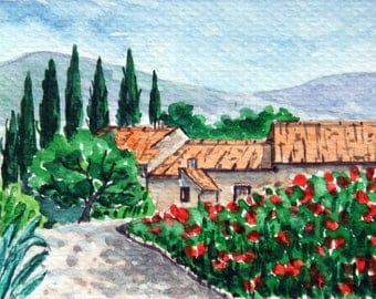 SALE!ACEO Original Watercolor Painting-Countryside Cottage in Spring/Tuscany Italy,Europe
