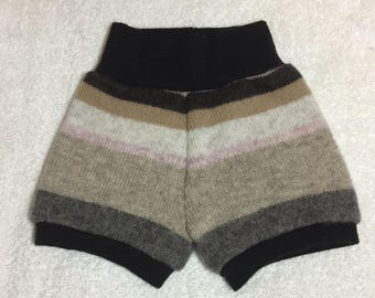 NEWBORN Upcycled 100% Wool Shorties brown beige pink gray striped