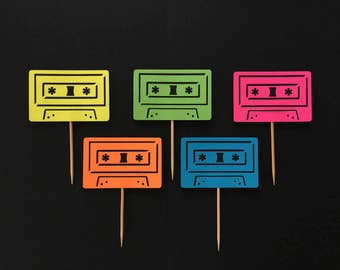 Set of 12 neon cassette tape cupcake toppers birthday party decoration decor food picks die cut fluorescent eighties 80s retro vintage 1980s