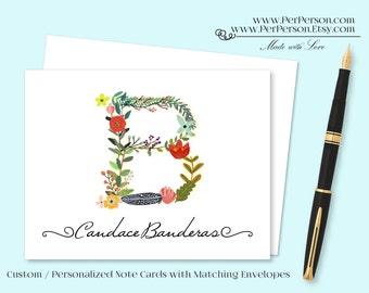 Free Ship!  Set of 12 Personalized / Custom Notecards, Boxed, Blank Inside, Large Floral, Flourish, Flowers, Monogram, Name, Initials