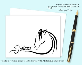 Free Ship!  Set of 12 Personalized / Custom Notecards, Boxed, Blank Inside, Flourish, Horse, Monogram, Name, Initials