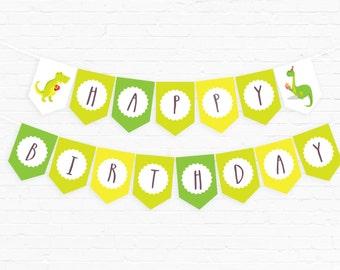 Dinosaur Party Birthday Banner | Dino Party | Dinosaur Birthday Printable | Green Dino