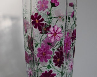 "Hand painted glass vase ""Сosmos flowers"""