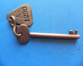 Brass Skeleton key W/ Brass tag. Police, Fire Alarm Key? Old & Original.