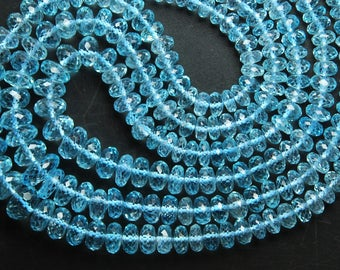 16 Inches Long Strand, AAA Natural Sky Blue Topaz Faceted Large Size Rondelles, 10-5mm