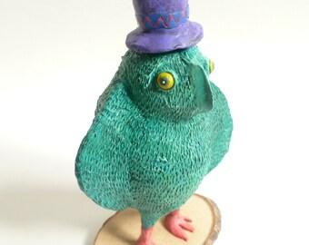 Green Owl Sculpture - Owl Figurine, Green Bird, Owl Decor