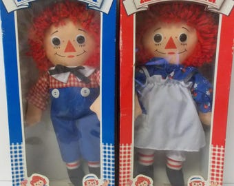 1983 Hasbro The Original Raggedy Ann & Andy Doll with a Heart in Original Boxes