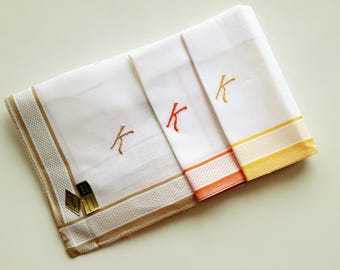 Vintage unused handkerchiefs white cotton monogrammed K