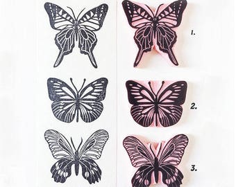 Butterfly Stamps, hand carved, rubber stamps, boho wedding, assortment butterflies