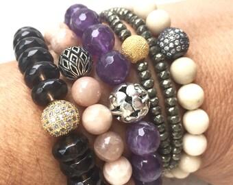 Gemstone Bracelet Stack- Amethyst Bracelet- Pyrite & Smokey Quartz Gemstone Bracelet- Fossil and Sunstone Gemstone Bracelet- Gift for Her