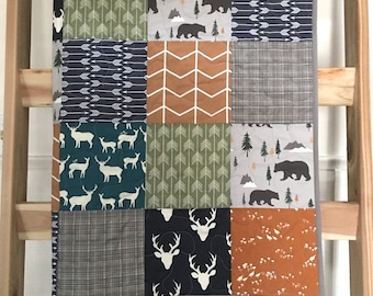 Baby/toddler quilt in neutral colors, deer, buck, bears, arrows, woodland, southwest, navy-gray-teal-rust-brown-olive