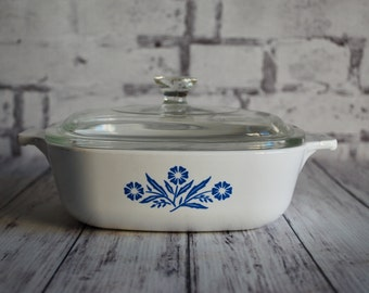 Corning Ware Blue Cornflower Covered Vintage Casserole P1B With Lid, 1 Quart, P1B