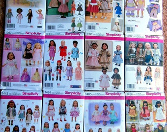 """NEW Lot of 12 Simplicity 18"""" American Girl DOLL Clothes Sewing Patterns Batch #2"""
