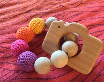 Montessori children's bracelet, handmade game with natural wood teething toy tray with wooden camera