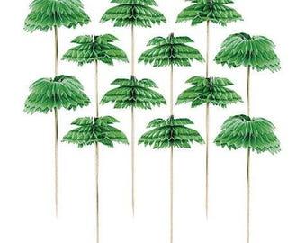 Set Of 12 Large 4 Inch Palm Tree Honeycomb Party Picks - Luau - Cake Decoration - Food Garnish - On Sale Last 2 Sets!