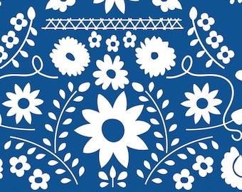Fiesta Fun Mexican Dress Midnight -  Art Gallery Fabrics - Mexican Dress Midnight - Fiesta Fun - Blue White