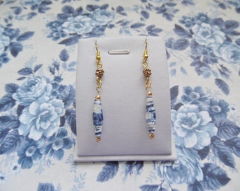Handmade,paper bead earrings,blue, nickel-free