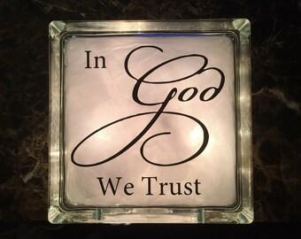Christian/Religious Gift - In God We Trust -Lighted Glass Block - Christian Decor - Christian Nightlight - GB-1181