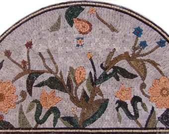 Arch Form Mosaic with pink flowers