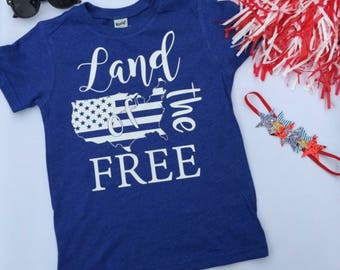 Land of the Free // Kids Tee // Toddler Tee // America // Stars and Stripes // 4th of July // USA // Memorial Day // Patriotic Shirt