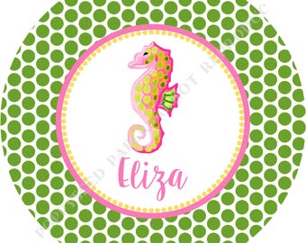 Lilly Pulitzer seahorse plate - Seahorse plate- Personalized melamine plate- Personalized plate- Kids plate- Personalized with name