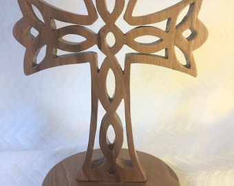Walnut Cross with Dove Detail on Stand