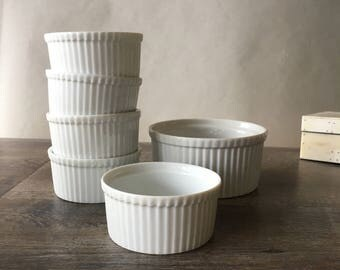 Vintage Apilco Ramekin Set, Classic Whiteware, white porcelain bakeware, french cookware, solid white, individual ramekin, Made in France