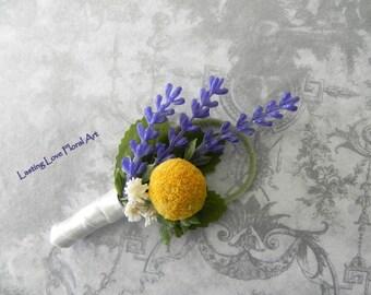 Spring Boutonniere, Summer Boutonniere, Wedding Boutonniere, Purple and Yellow Boutonniere, Lavender Boutonniere, Billy Button Boutonniere