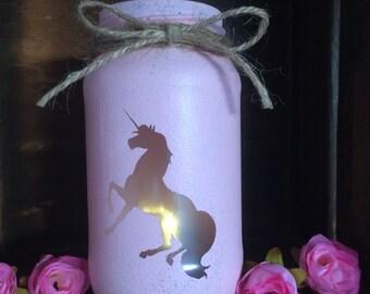 Unicorn jarlight candle fantasy pink lantern spa light candle holder pink handmade painted mermaid lights cute candle vintage love