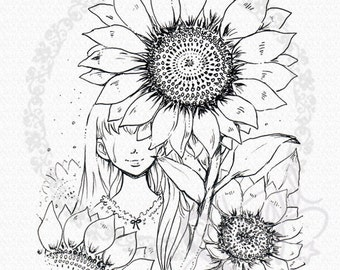 Sunflower Smiles - DIGITAL STAMP Instant Download for Cards & Crafts