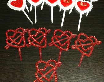 Valentines Day cupcake picks! Vintage party supplies, made in Hong Kong