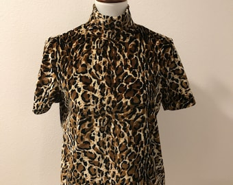 Vintage 90's Leopard Print Velour Turtleneck, Short Sleeve Blouse, 1990's Pierre Cardin Top