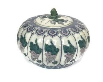 Blue, Green, Pink Pumpkin Jar with Lid