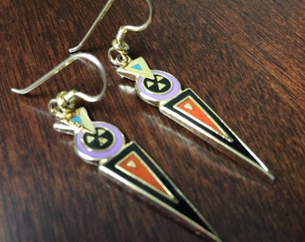 "Vintage Laurel Burch ""Luz"" 1993 Art Deco Dangle Earrings - Rare"