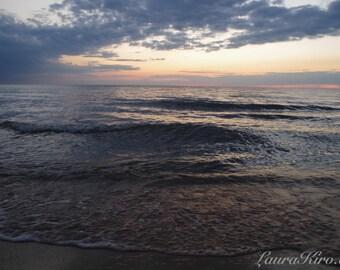 Sunset Photography, Photograph, Ocean Photograph, Wall Decor Water Photography Dusk Lake Michigan