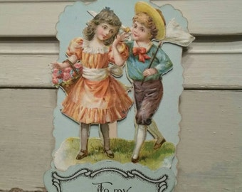 Antique Valentine - Valentine's Day stand-up embossed card made in Germany - Art Deco Design